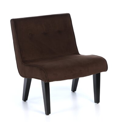 Elvie Velvet Slipper Chair Frame Finish: Chocolate