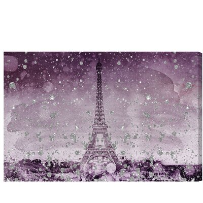 Eiffel Glitter Plum Graphic Art on Wrapped Canvas Size: 10