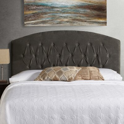 Lesa Curved Upholstered Headboard Size: Queen, Upholstery: Grey Velvet