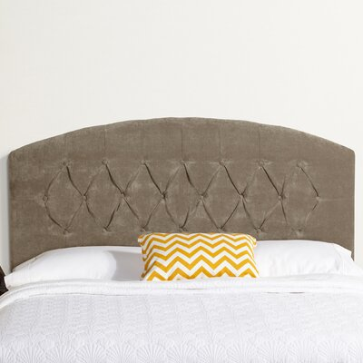 Lesa Curved Upholstered Headboard Size: Queen, Upholstery: Light Grey Velvet