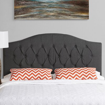 Sherburne Diamond Arched Upholstered Headboard Size: Queen, Upholstery: Charcoal