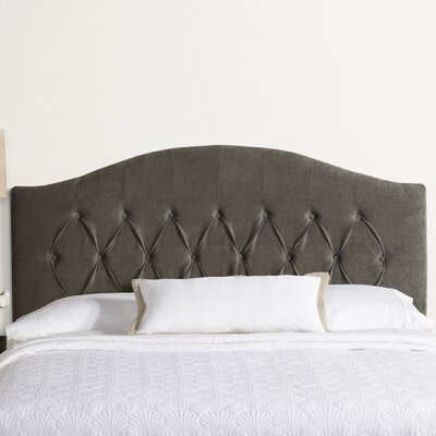 Lesa Arched Upholstered Headboard Size: King, Upholstery: Gray Velvet