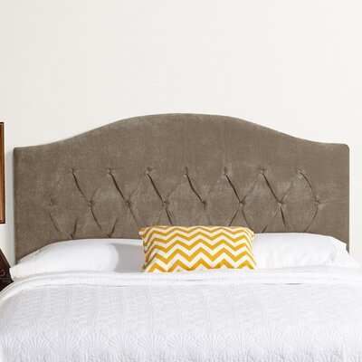 Sherburne Arched Upholstered Velvet Headboard Size: King, Upholstery: Light Gray Velvet