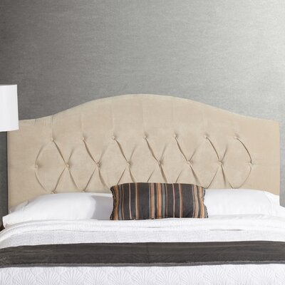 Lesa Arched Upholstered Headboard Size: Queen, Upholstery: Ivory Vevlet