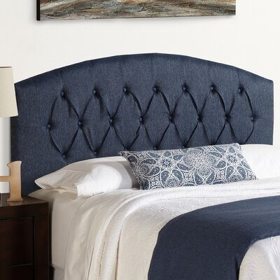 Sherburne Curved Upholstered Headboard in Blue Size: King
