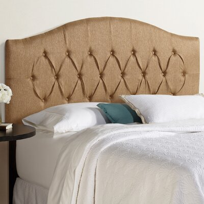 Sherburne Diamond Arched Upholstered Velvet Headboard Size: King, Upholstery: Golden Brown