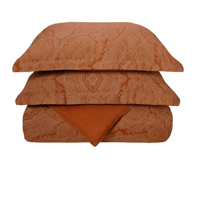 Mansfield Reversible Duvet Cover Set Size: Twin, Color: Pumpkin