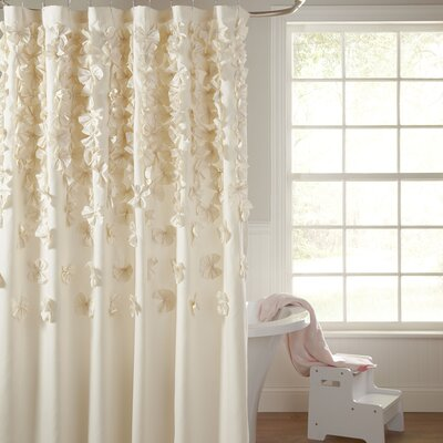 Romain Shower Curtain Color: Ivory