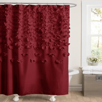 Romain Shower Curtain Color: Red