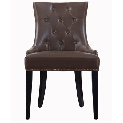 Adneta Genuine Leather Upholstered Dining Chair (Set of 2) Upholstery: Brown