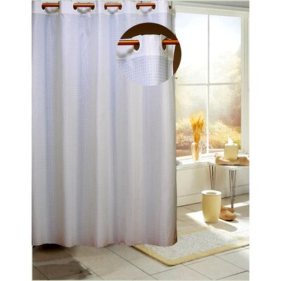 Estella Check Shower Curtain Color: Ivory