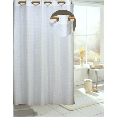 Estella Check Shower Curtain Color: White