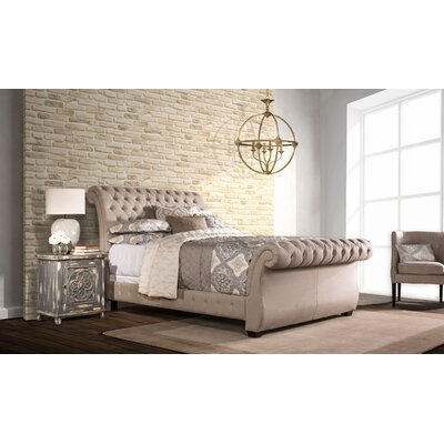 Cyrano Upholstered Wood Frame Sleigh Bed Size: Queen