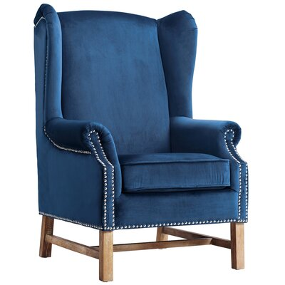 Roffe Velvet Wingback Chair Color: Navy