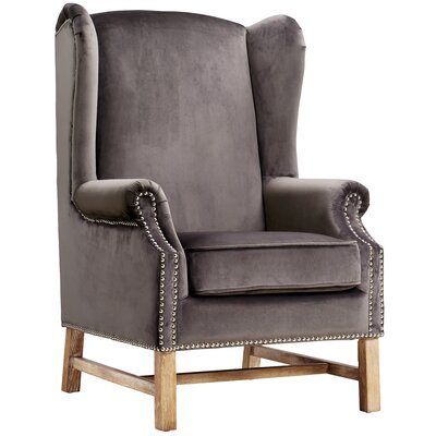 Roffe Velvet Wingback Chair Color: Gray