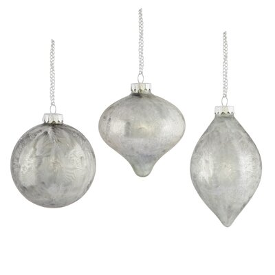Andrea 3 Piece Frost Glass Mixed Ornament Set (Set of 2)