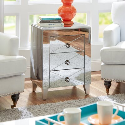 Almandine Mirrored 3 Drawer Side Table