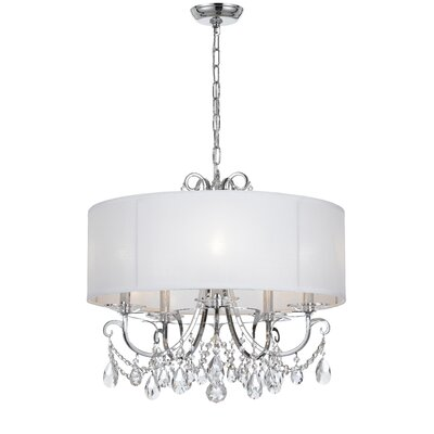 Roesler 5-Light Fabric Shade Drum Chandelier