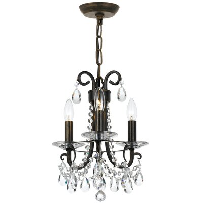 Roesler 3-Light Crystal Chandelier Finish: English Bronze Steel