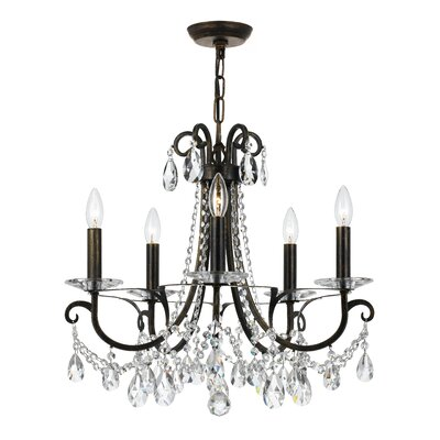 Portman 5-Light Crystal Chandelier Finish: English Bronze Steel
