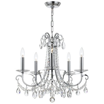 Portman 5-Light Crystal Chandelier Finish: Polished Chrome Steel
