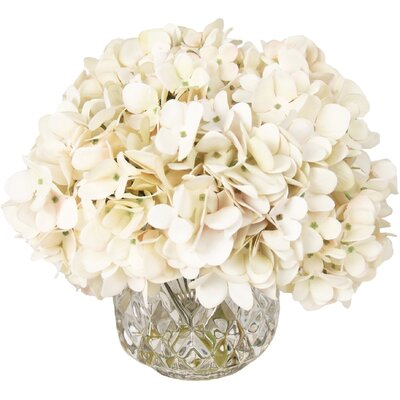 Hydrangea Bouquet Arrangement in Crystal Vase