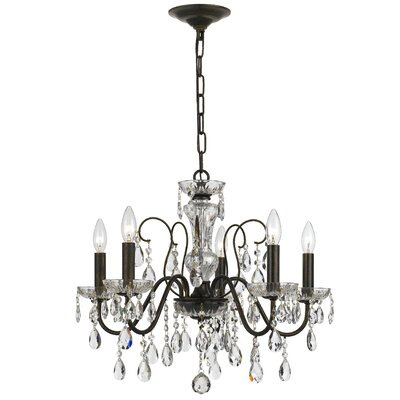 Roney 5-Light Crystal Chandelier Finish: English Bronze
