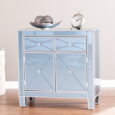 Carell Mirrored Accent Cabinet Color: Blue