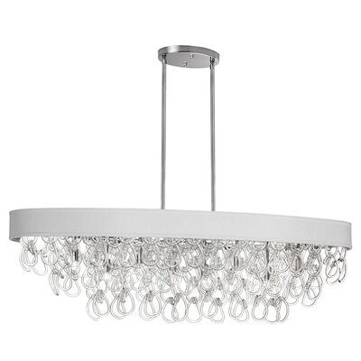 8-Light Kitchen Island Pendant Shade Color: White
