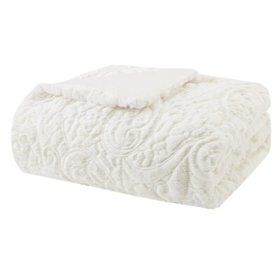 Barrett Plush Polyester Throw Color: Ivory