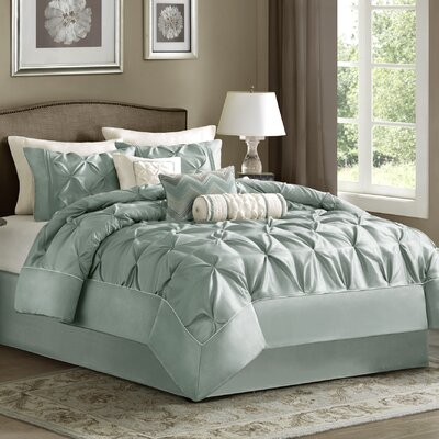 Benjamin 7 Piece Comforter Set Color: Silver Blue, Size: King
