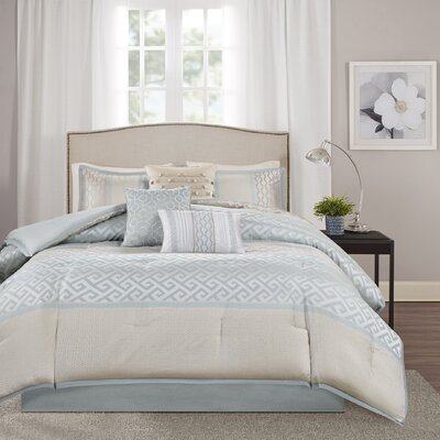Apollonia 7 Piece Comforter Set Size: King, Color: Aqua