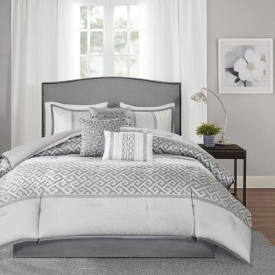 Apollonia 7 Piece Comforter Set Size: King, Color: Grey