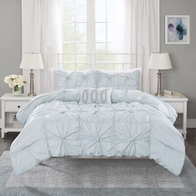Ava 4 Piece Duvet Set Size: King / California King, Color: Seafoam