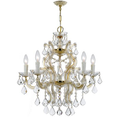 Griffiths 6-Light Crystal Chandelier Crystal Grade: Swarovski Elements, Finish: Gold