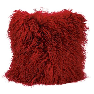 Springport Fur Throw Pillow Color: Red