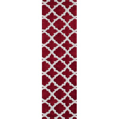 Edie Hand-Tufted Red Area Rug Rug Size: Runner 23 x 8