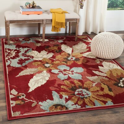 Berloz Red Area Rug Rug Size: 53 x 76