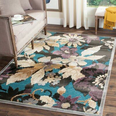 Berloz Beige/Teal Area Rug Rug Size: Rectangle 76 x 106