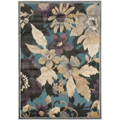 Berloz Beige/Teal Area Rug Rug Size: Rectangle 53 x 76