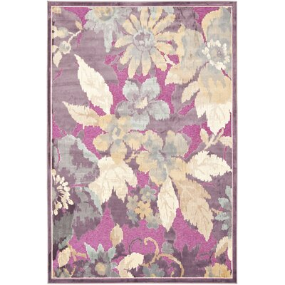 Berloz Purple/Fuchisa Area Rug Rug Size: Rectangle 4 x 57