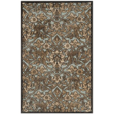 Berloz Soft Anthracite / Anthracite Floral Plant Area Rug Rug Size: Rectangle 27 x 4