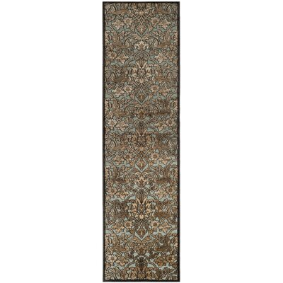 Berloz Soft Anthracite / Anthracite Floral Plant Area Rug Rug Size: Runner 22 x 8