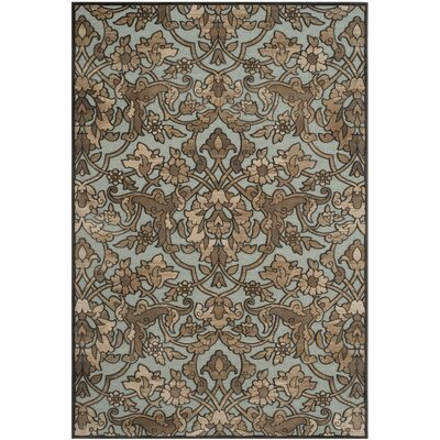 Berloz Soft Anthracite / Anthracite Floral Plant Area Rug Rug Size: 4 x 57