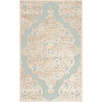 Maspeth Stone & Aqua Contemporary Area Rug Rug Size: 53 x 76