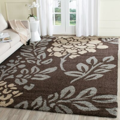 Flanery Dark Brown Area Rug Rug Size: Round 67
