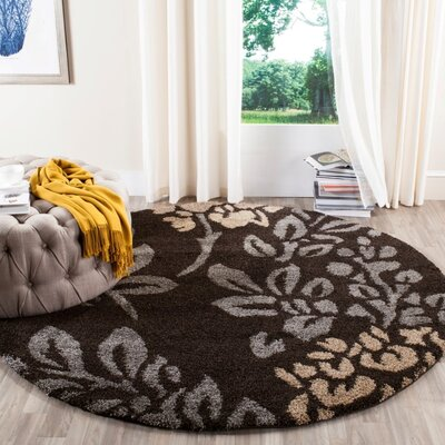 Duffey Dark Brown/Beige Area Rug Rug Size: Round 4