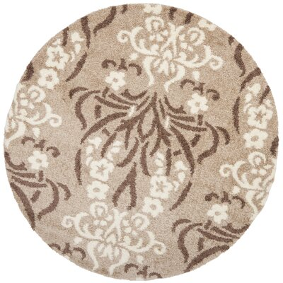 Flanery Light Beige Area Rug Rug Size: Round 67