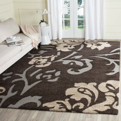 Flanery Dark Brown Area Rug Rug Size: 33 x 53