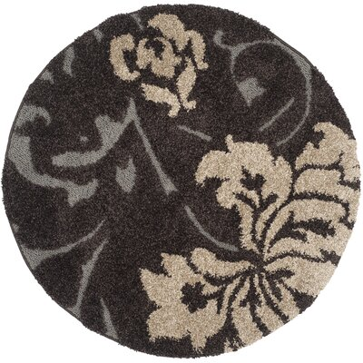 Marybell Dark Brown Area Rug Rug Size: Round 4